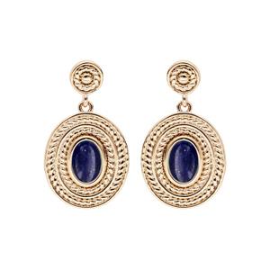 Boucles d\'oreille pendantes en plaqué or ovale pierre Lapis Lazuli véritable et fermoir poussette - Vue 1