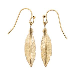 Boucles d\'oreille pendantes en plaqué or plume et fermoir crochet - Vue 1