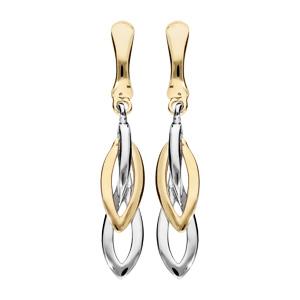 Boucles d\'oreille pendantes en plaqué palladium et dorure clip gouttes - Vue 1