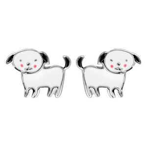Boucles d\'oreille pour enfant en argent rhodié chien noir et blanc et fermoir poussette - Vue 1