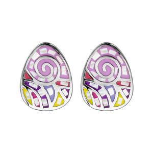 Boucles d\'oreille Stella Mia en acier avec nacre rose, violet et jaune et fermoir poussette - Vue 1
