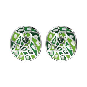 Boucles d\'oreille Stella Mia en acier et nacre carré motifs géométriques vert - Vue 1