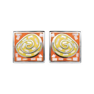 Boucles d\'oreille Stella Mia en acier et nacre forme rectangle avec spirale orange et jaune et fermoir poussette - Vue 1