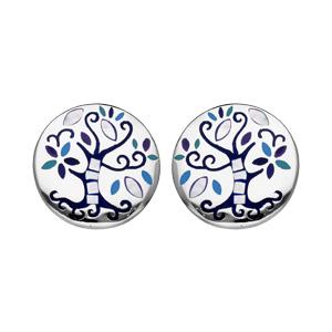 Boucles d\'oreille Stella Mia en acier et nacre rondes avec arbre de vie bleu et fermoir poussette - Vue 1