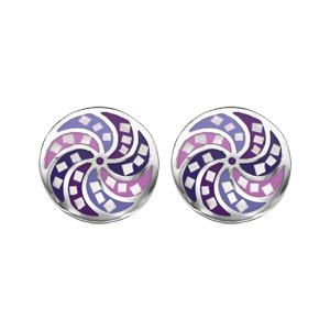 Boucles d\'oreille Stella Mia en acier ronde avec rosace violet rose et nacre avec fermoir poussette - Vue 1
