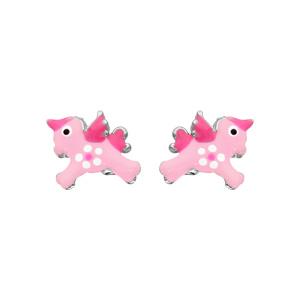 Boucles d\'oreille tige argent rhodié licorne rose - Vue 1
