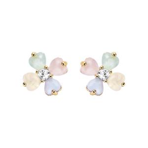 Boucles d\'oreille tige plaqué or forme fleur verre opaque pastel - Vue 1