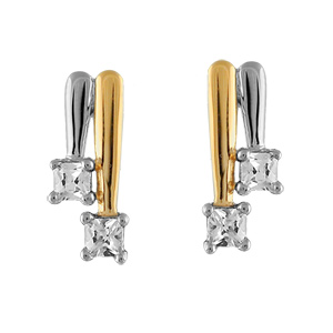 Boucles d\'oreilles bicolore 2 baguettes pierres blanches synthétiques - Vue 1