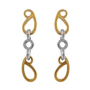 Boucles d\'oreilles bicolore pendante rond et ovales motif fermoir tige - Vue 1