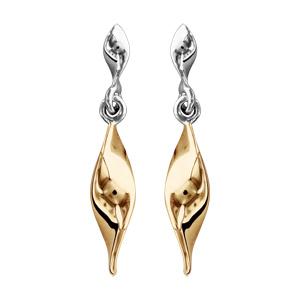 Boucles d\'oreilles bicolores pendantes ruban jaune vrillé suspendu et fermoir tige à poussette - Vue 1