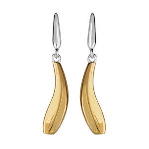 Boucles d\'oreilles bicolores pendantes vague jaune sur support gris et fermoir tige à poussette - Vue 1