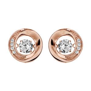 Boucles d\'oreilles Dancing Stone en argent et dorure rose rond avec oxydes blancs et fermoir clou avec poussette - Vue 1