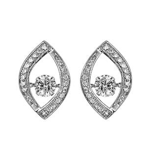 Boucles d\'oreilles Dancing Stone en argent rhodié amande ornée d\'oxydes blancs et fermoir clou avec poussette - Vue 1