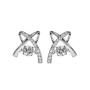 Boucles d\'oreilles Dancing Stone en argent rhodié croix ornée d\'oxydes blancs et fermoir poussette - Vue 1