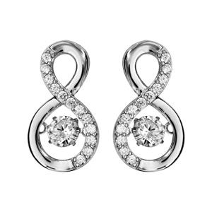 Boucles d\'oreilles Dancing Stone en argent rhodié forme infini avec oxydes blancs et fermoir clou avec poussette - Vue 1