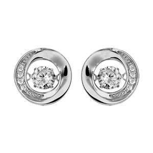 Boucles d\'oreilles Dancing Stone en argent rhodié rond orné d\'oxydes blancs et fermoir poussette - Vue 1