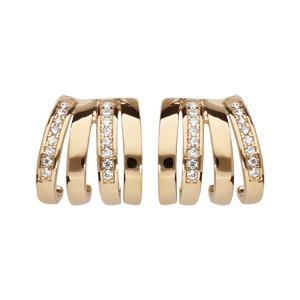 Boucles doreilles demi créoles en plaqué or petit modèle triple anneau avec oxydes blancs sertis et fermoir poussette