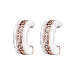 Boucles d\'oreilles demi-créole en plaqué or rose demi- anneau en céramique blanche et rail d\'oxydes blancs micro sertis et fermoir clou avec poussette - Vue 1