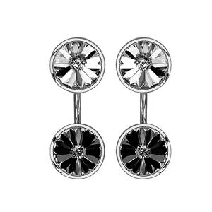 Boucles d\'oreilles duo suspendu en argent rhodié avec 1 oxyde blanc en haut et 1 oxyde noir en bas - Vue 1