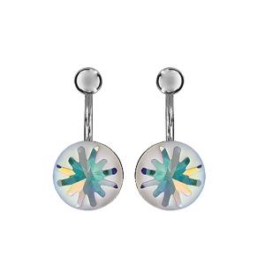 Boucles d\'oreilles duo suspendu en argent rhodié avec petite boule lisse en haut et boule colorée bleu et blanc en bas - Vue 1