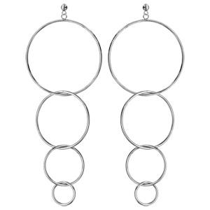 Boucles d\'oreilles en acier 4 anneaux entrelacés en chute et fermoir poussette - Vue 1