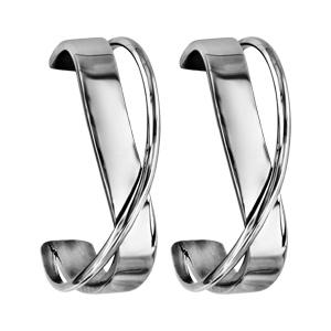Boucles d'oreilles en acier demi créoles vague