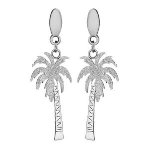 Boucles d\'oreilles en acier effet givré palmier suspendu et fermoir poussette - Vue 1