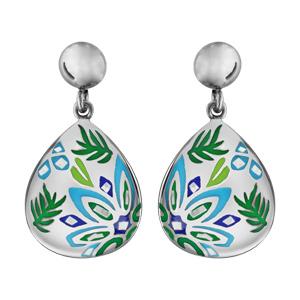 Boucles d'oreilles en acier et nacre Stella mia forme ovale colibri bleu vert
