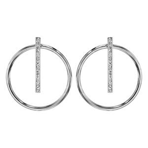 Boucles d\'oreilles en acier et oxydes cercle lisse avec barrette et fermoir poussette - Vue 1