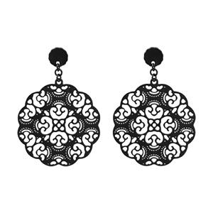 Boucles d\'oreilles en acier et PVD noir motifs arabesques finement dentelées suspendu et fermoir poussette - Vue 1