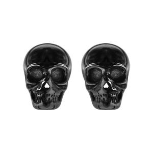ec575f513 Boucles d'oreilles en acier et PVD noir tête de mort fermoir tige à  poussette