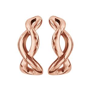 Boucles d'oreilles en acier et PVD rose demi créoles infini