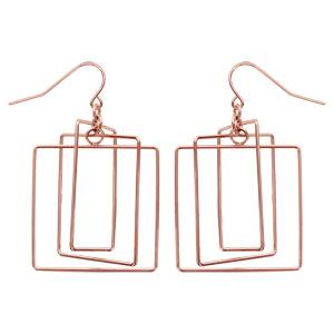Boucles d\'oreilles en acier et PVD rose forme géométrique carré et rectangle et fermoir poussette - Vue 1