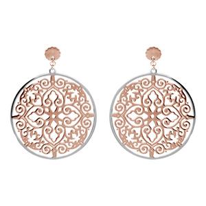 Boucles d\'oreilles en acier et PVD rose motifs arabesques finement dentelées suspendues et fermoir poussette - Vue 1