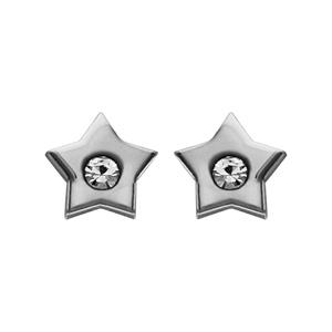 Boucles d\'oreilles en acier étoile lisse avec oxyde blanc au centre et fermoir poussette - Vue 1