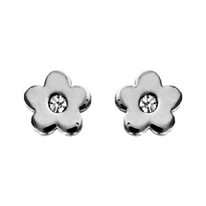 Boucles d\'oreilles en acier fleur lisse avec oxyde blanc au cente et fermoir clou avec poussette - Vue 1