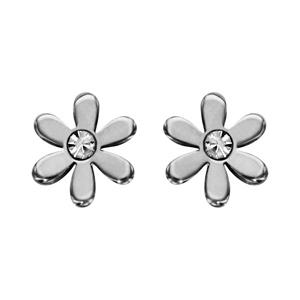 Boucles d\'oreilles en acier marguerite lisse avec oxyde blanc au milieu et fermoir poussette - Vue 1
