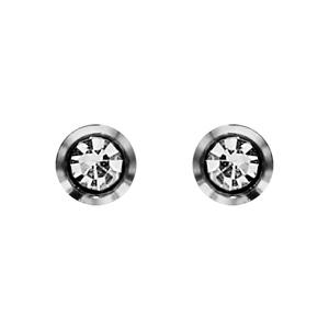 Boucles d\'oreilles en acier oxyde rond blanc de 3mm serti clos et fermoir clou avec poussette - Vue 1