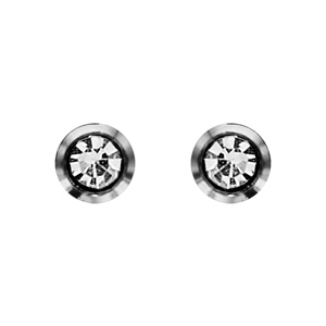 Boucles d\'oreilles en acier oxyde rond blanc serti clos et fermoir poussette - Vue 1
