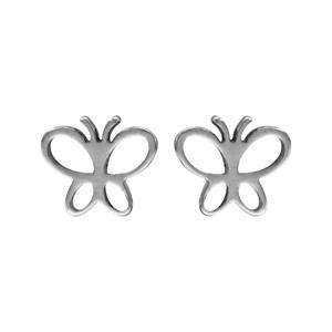 Boucles d\'oreilles en acier papillon évidé et fermoir clou avec poussette - Vue 1