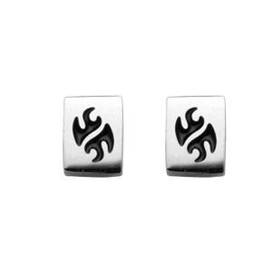 Boucles d\'oreilles en acier rectangle avec gravure motif tribal noir et fermoir clou avec poussette - Vue 1