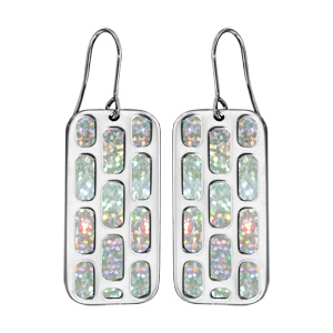 Boucles d\'oreilles en acier rectangulaire motifs géometriques glitter blanc fermoir crochet - Vue 1