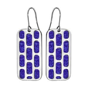Boucles d\'oreilles en acier rectangulaire motifs géométriques glitter bleu royal et fermoir crochet - Vue 1