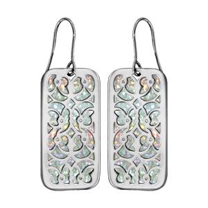 Boucles d\'oreilles en acier rectangulaire motifs volutes glitter blanc et fermoir crochet - Vue 1
