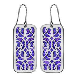 Boucles d\'oreilles en acier rectangulaire motifs volutes glitter violet et fermoir crochet - Vue 1