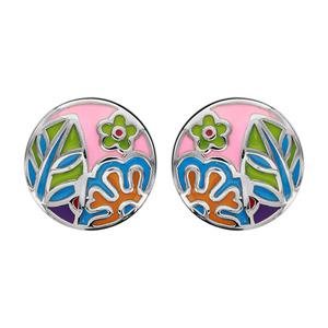 Bijoux Dessin boucles d'oreilles en acier ronde avec dessin de fleur en résine et