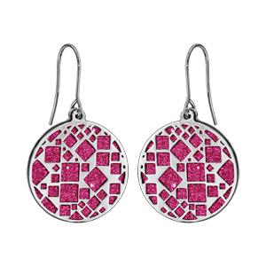 Boucles d\'oreilles en acier rondes motifs carrés glitter fuschia et fermoir crochet - Vue 1
