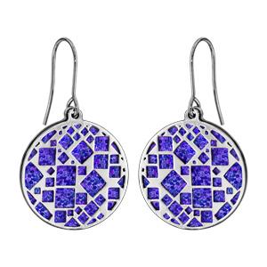 Boucles d\'oreilles en acier rondes motifs carrés glitter violet et fermoir crochet - Vue 1