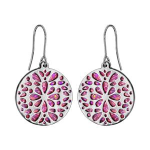Boucles d\'oreilles en acier rondes motifs fleurs fond glitter rose et fermoir crochet - Vue 1
