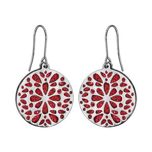 Boucles d\'oreilles en acier rondes motifs fleurs fond glitter rouge et fermoir crochet - Vue 1